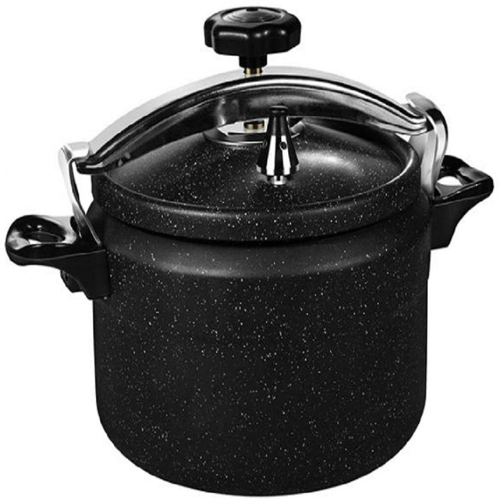 RoyalFord Granite Coated Manual Pressure Cooker Mixed Materials, Black 9 Liter, RF9450