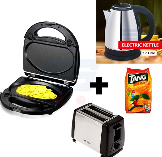 4 in 1 Bundle Offer Saachi Omelette Maker + Olympia 2 Slices Toaster + Electric Kettle 1.8 Litre + Tang Orange Refill Pack 500gm
