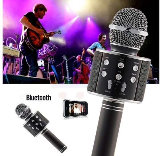 Wireless Bluetooth Microphone Recording Condenser Handheld Microphone Stand With Bluetooth Speaker Audio Recording - WS-858