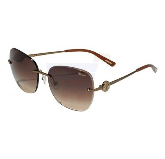 Chopard Oval Shiny Bronze Frame & Brown Mirrored Sunglass For Women - SCHB22S-0R80