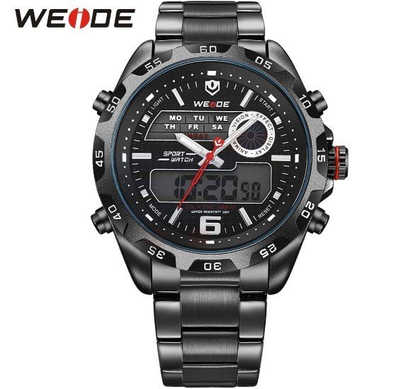 Weide Mens Watches Top Brand Luxury Quartz Watch 30 Meters Waterproof Back Light Display Wristwatch - 3403 Black