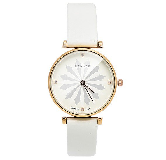 Langar Lotus Design Thin Leather Strap Leather Watch For Women - White