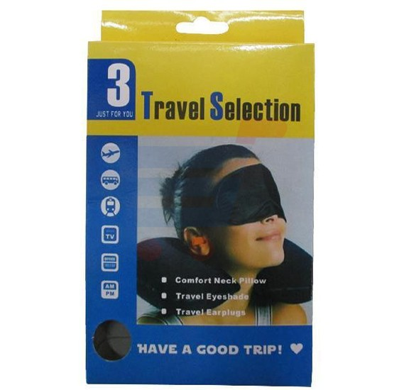 Travel Selection Comfort 3 in 1 Neck Pillow, Travel Eye Shade Mask, Ear Plugs suitable for Train, Bus, Flight, Car, Long Journey