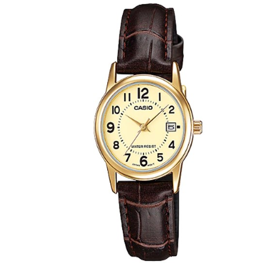 Casio Leather Strap Watch For Women, LTP-V002GL-9BUD