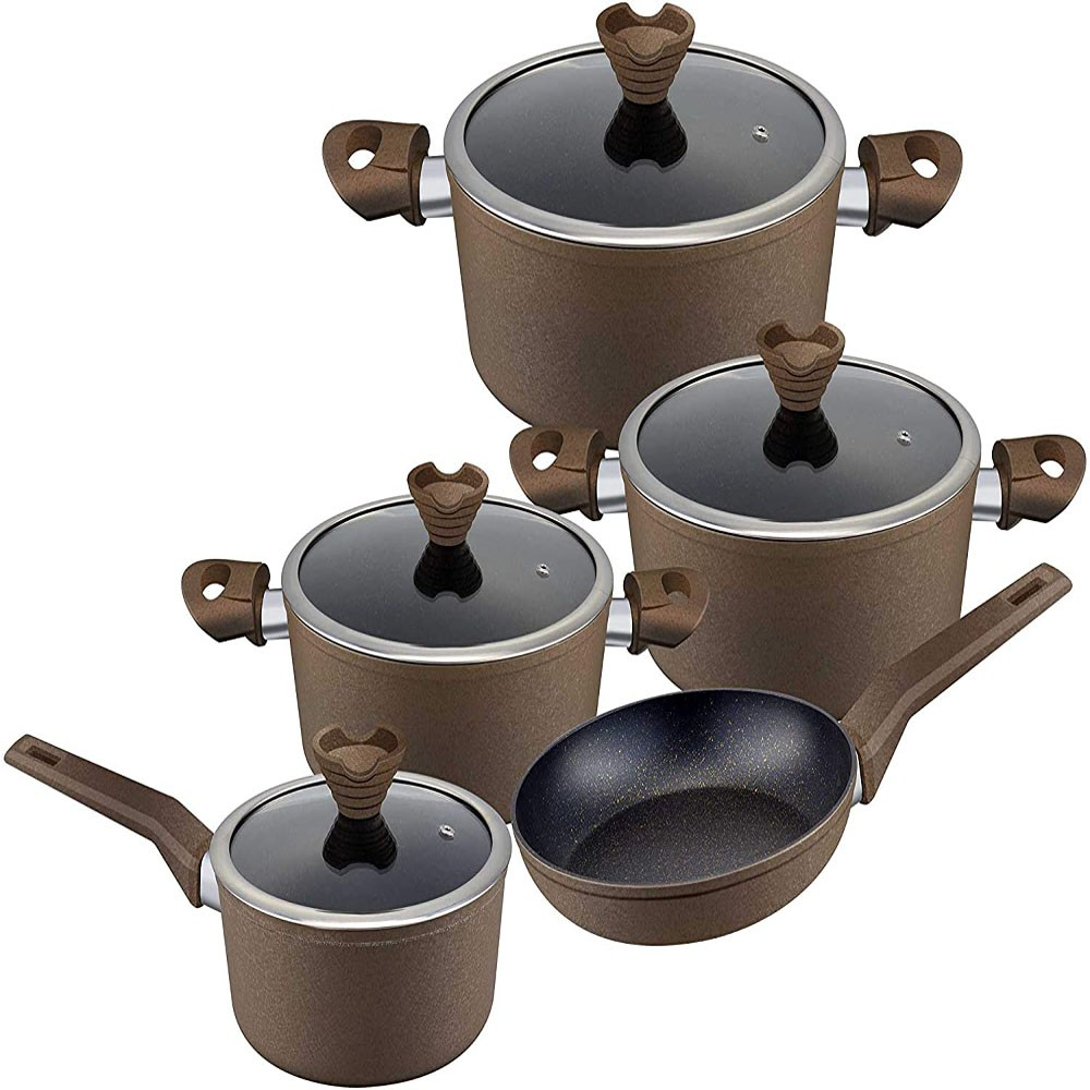 Royalford Frost coated 9 PCs Forged Aluminium Cookware set with Scratch Resistant Tempered Glass Lids 2.5MM Body Thickness Bakelite Knobs and CD Bottom, RF9632