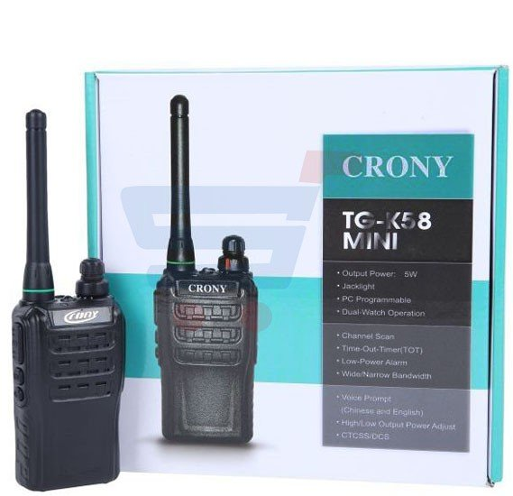 Crony Walkie Talkie TG K58 mini, Channel Scan Monitor Two Way Radio UHF 400 470MHz 16CH Flashlight