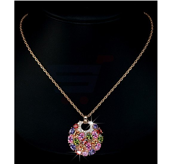 Tiara Elements Limited Edition 18K Rose Gold Plated Neckalce With Multi Color Crystal - UN0024
