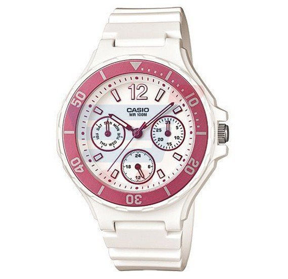 Casio Analog Watch For Women, White Resin Band-LRW-250H-4A