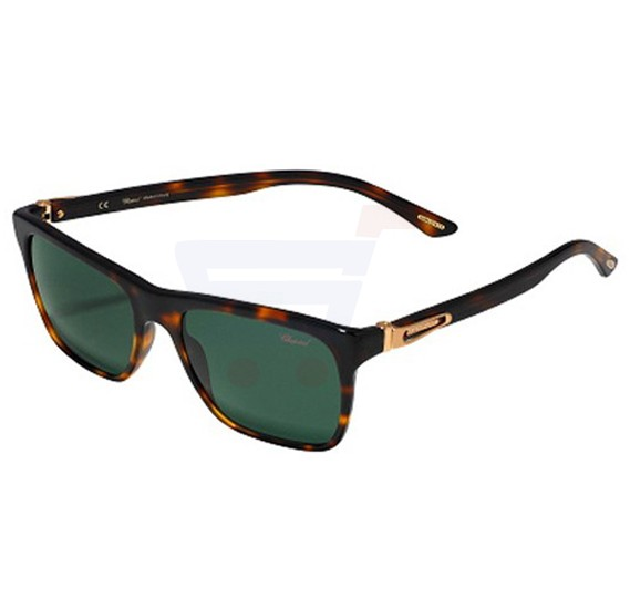 Chopard Rectangle Havana Frame & Green Polarized Mirrored Sunglasses For Unisex - SCH151-748P