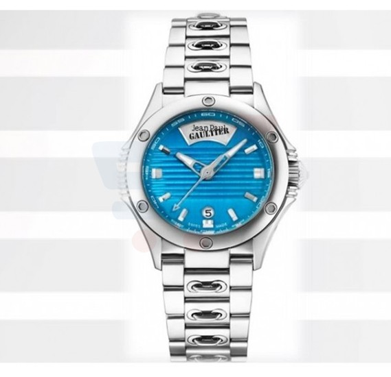 Jean Paul Gaultier Swiss Made Men Silver& Blue Watch - JPG0101007