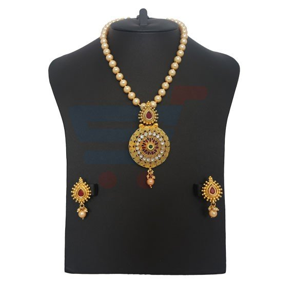 Nora Ladies Pearl Garland with Pendant Luxury Necklace Set, NR028