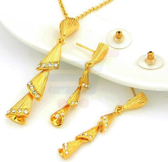 18K Real Gold Plated Swarovski Rhinestone Dangle Jewelry Set with 18KGP Stamp