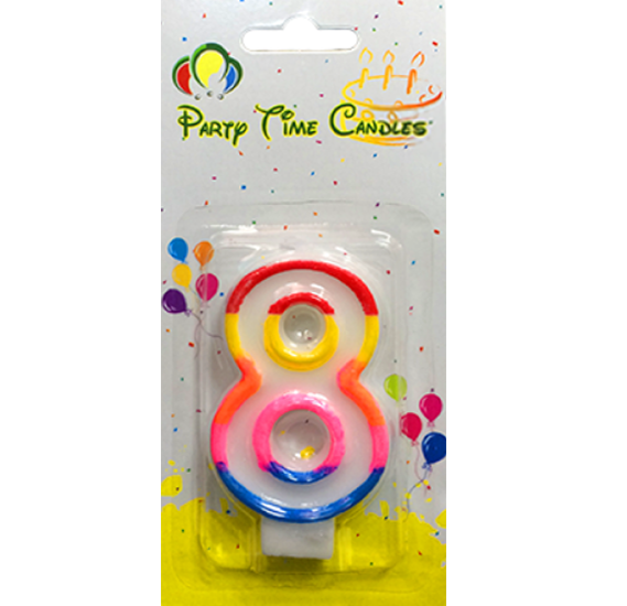 Party Time Number Candle Small 8 M028