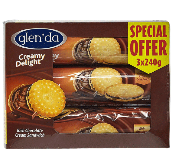 Glenda Creamy Delight Biscuits 3 x 240gm, 176141