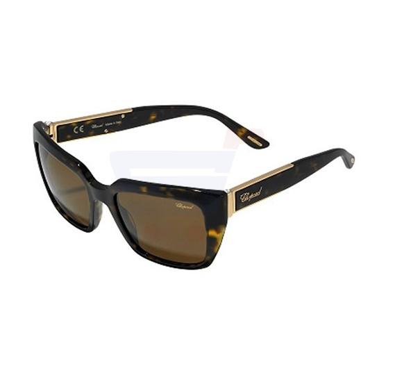 Chopard 0700 Shiny Dark Havana Frame & Brown Mirrored Sunglasses For Women - SCH187S-0722