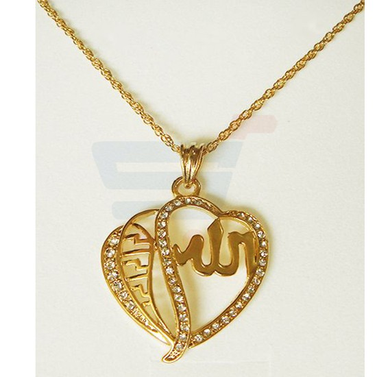 18k Gold Plated Russian Cubic Zirconia Stone Highly Shiny Pendant with Chain