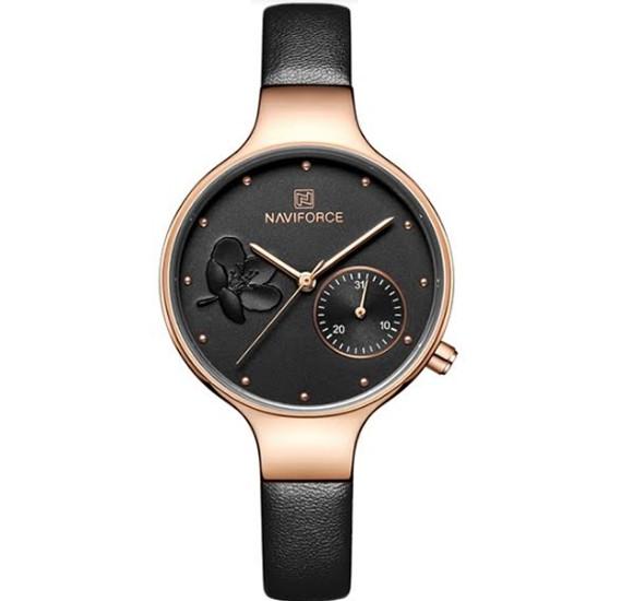 Naviforce Genuine Leather Quartz Multi-Function Watch For Women, NF 5001, Black