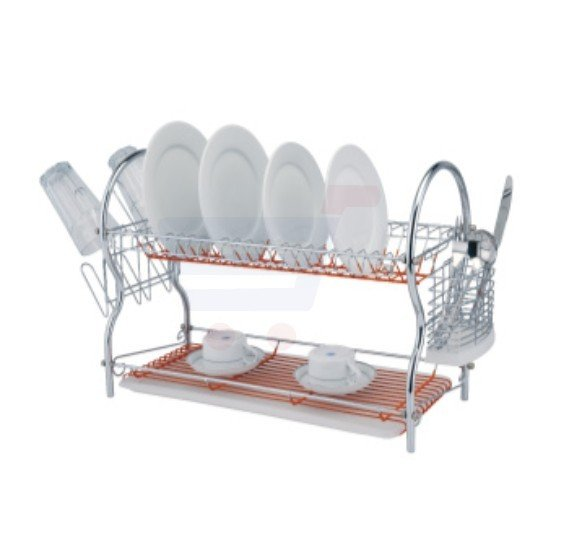 Flamingo Q Shape Dish Rack With Tray 2 Layer - FL1302DR