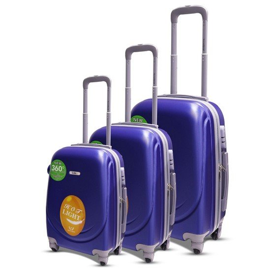 Traveller Abs 4 Wheel Trolley Set 20, 24 and 28 Inch - Blue