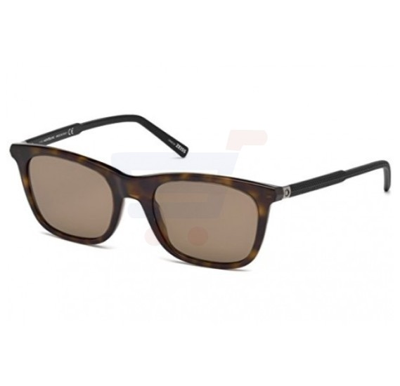 Mont Blanc Square Dark Havana/ Black Frame & Brown Mirrored Sunglasses For Unisex - MB607S-52J