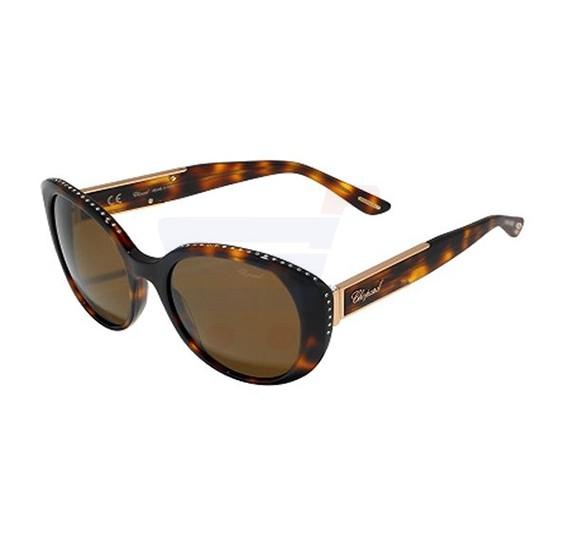 Chopard Oval Havana Marine Frame & Brown Mirrored Sunglasses For Women - SCH191S-0748