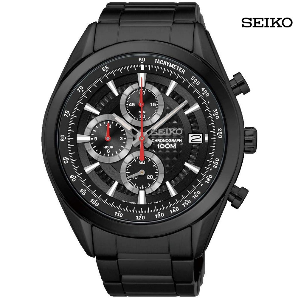 Seiko Men Analog Black Dial Stainless Steel Watch, SSB179P1