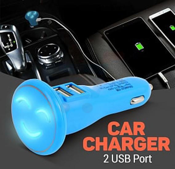 2 USB Port Smile Design Car Charger, Blue