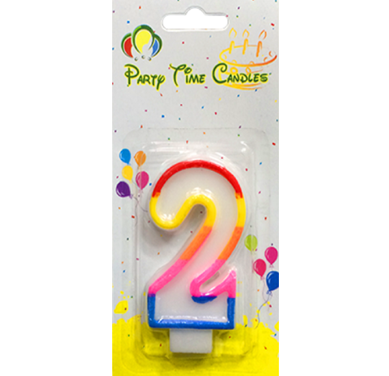 Party Time Number Candle Small 2 M028