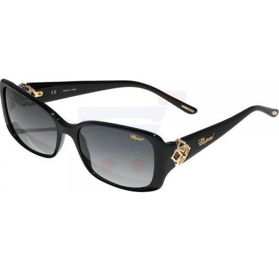 Chopard Rectangle Black Frame & Grey Sunglass Mirrored For Women - SCH132S-0700