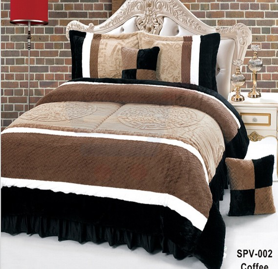 Senoures Velour Comforter 6Pcs Set King - SPV-002 Coffee