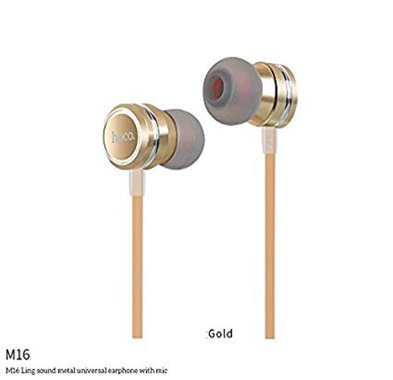 Hoco Ling sound metal universal earphone with mic,Gold, M16