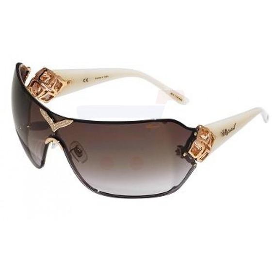 Chopard Rectangle Copper Gold Frame & Grey Gradient Sunglass Mirrored For Women - SCH999S-8FCX