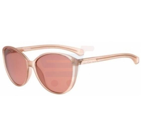 Calvin Klein Oval Light Pink Frame & Brown Gradient Mirrored Sunglasses For Unisex - CKJ784S-603