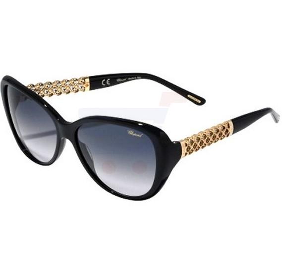 Chopard Oval Shiny Black Frame & Grey Mirrored Sunglass For Women - SCH183S-700F