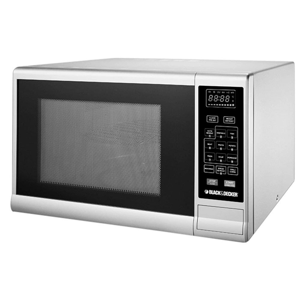 Black & Decker 30L Lifestyle Microwave Oven with Grill & Mirror Finish, Silver - MZ30PGSS-B5