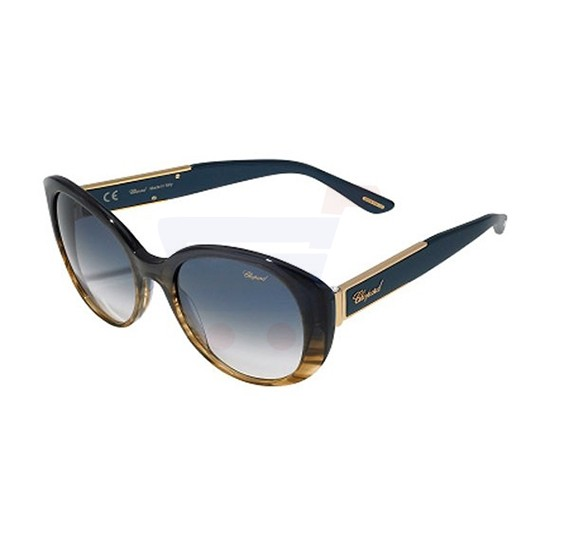 Chopard Oval Shiny Blue Frame & Blue Gradient Pink Mirrored Sunglasses For Women - SCH188S-0M61
