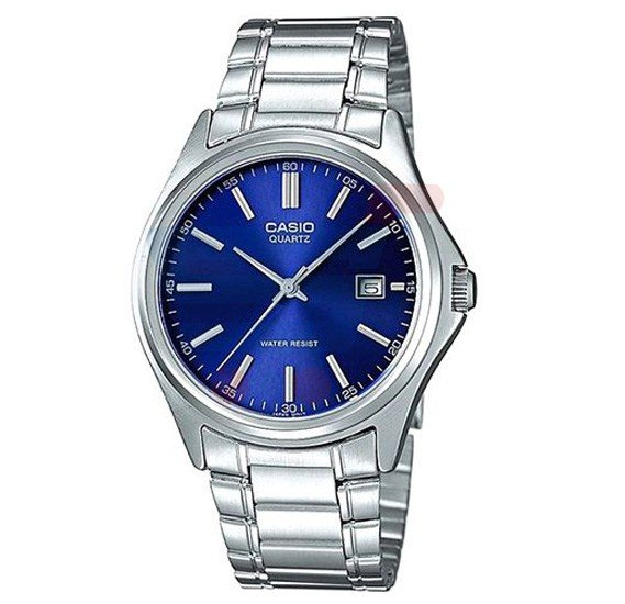 Casio Analog Watch For Men, Silver Stainless Steel With Blue Dial-LTP-1183A-2A