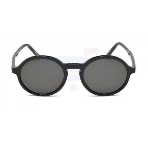 Mont Blanc Round Black Frame & Black with Bluish tint Mirrored Sunglasses For Men - MB601S-01A (ML5SDXA9KWD)
