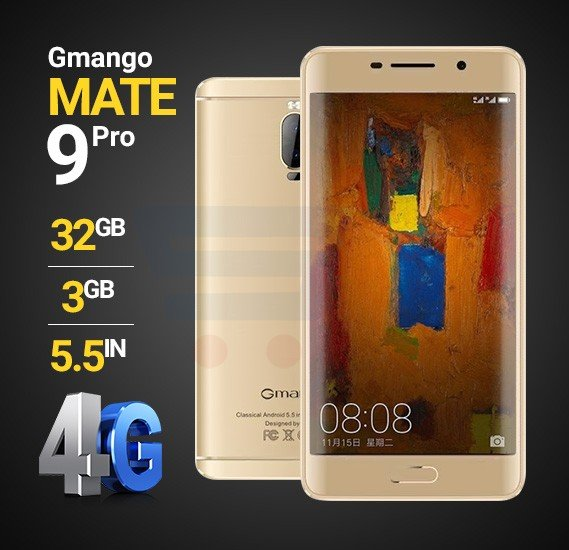 Gmango Mate 9 Pro Smartphone, 4G LTE, Android 6.1 OS, 5.5 inch HD Display, 3GB RAM, 32GB Storage, Dual Camera, Quad-Core Processor - Gold