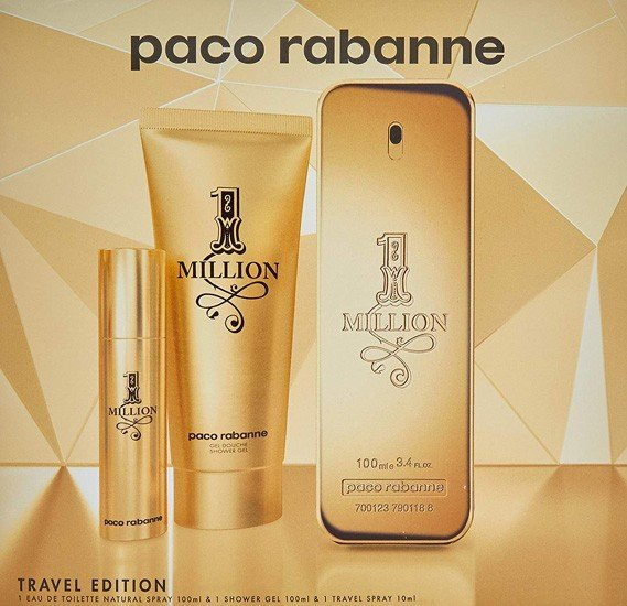 One Million edT Set 100 ml+75 ml S/G+10ml Mini edT for Men by Paco Rabanne, 12270