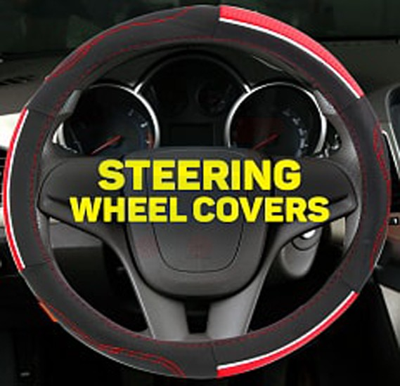 Car Steering Wheel Covers Black Red, Medium Size