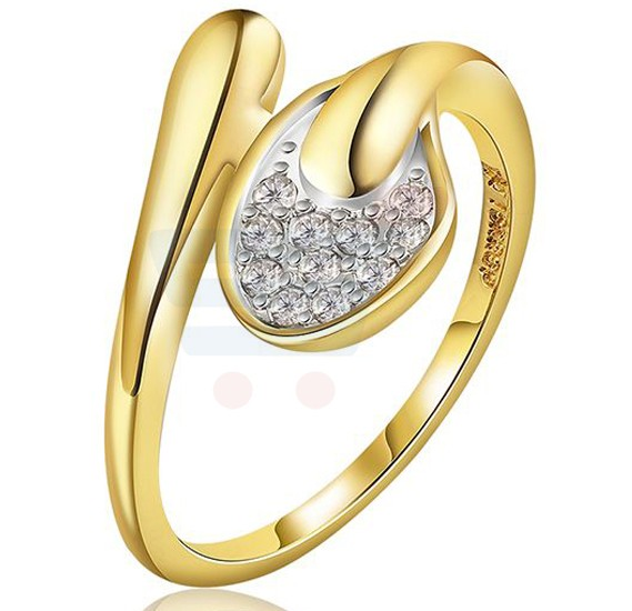 18k Gold Plated Cubic Zircon Elegant Crown Ring US8