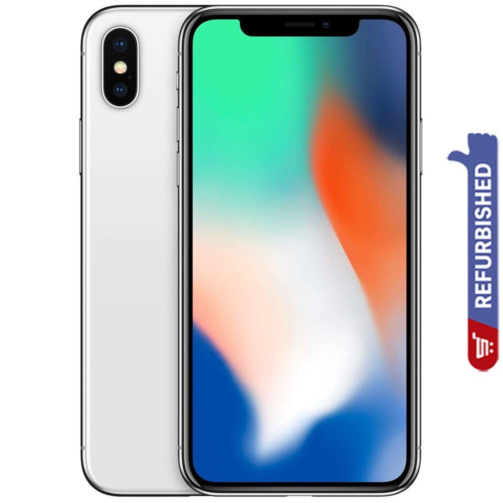 Apple iPhone X, 3GB RAM 64GB Storage, 4G LTE, Silver - Refurbished