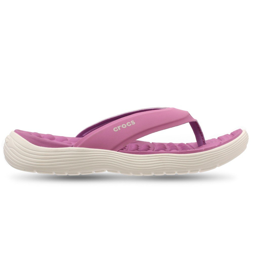 Crocs Womens Clogs Slippers Crocs Reviva Flip W Violet and White 205473-592, 39 Size