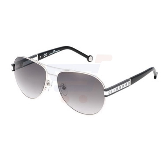 Carolina Herrera Aviator Black Grey Frame & Grey Gradient Mirrored Sunglasses For Women - SHE043-0579