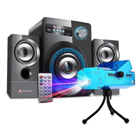 Bundle of Audionic 2.1 Bluetooth Speakers + 6 in 1 Dj Laser Stage Light Projector