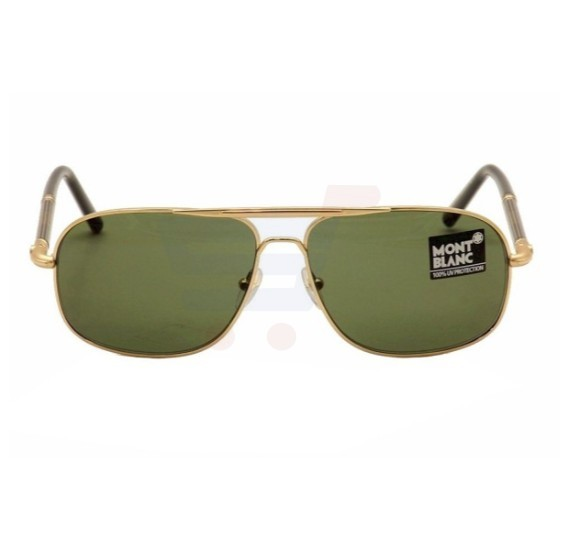 Mont Blanc Aviator Shiny Endura Gold/ Black Frame & Grey/ Green Mirrored Sunglasses For Unisex - MB518S-30N