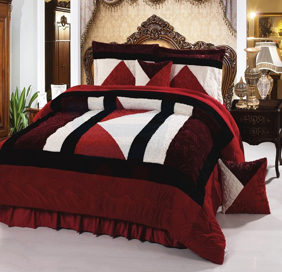 Senoures Velour Comforter 6Pcs Set King - SPV-004 Red
