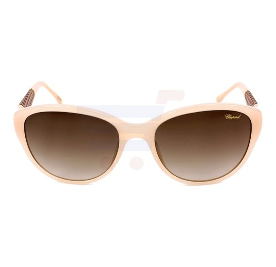 Chopard Oval Opaline Beige Frame & Grey Mirrored Sunglasses For Unisex - SCH127-09XA