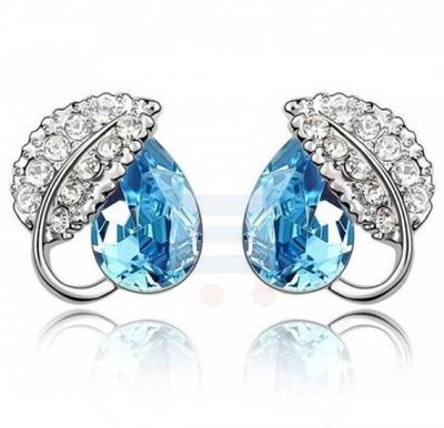 Azure Blue Acacia Leaves Stud Earring